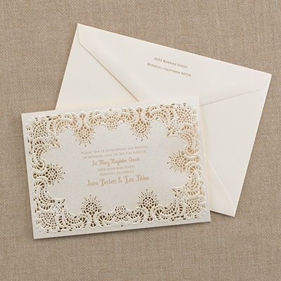 Shimmering lace invitation wedding invitations for Carlson craft invitations discount