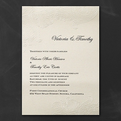 Embossed lace invitation wedding invitations carlson for Carlson craft invitations discount