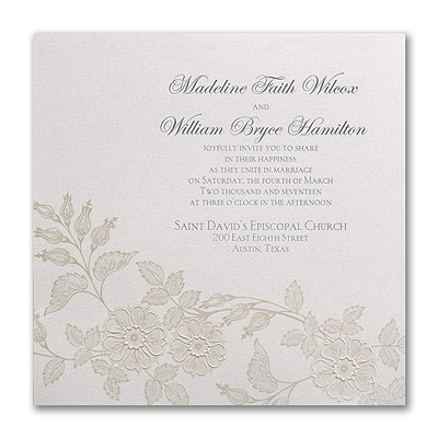 Flowers on shimmer invitation wedding invitations for Carlson craft invitations discount