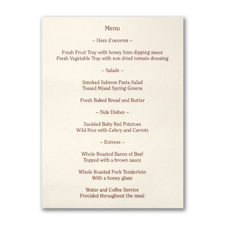 Ecru Menu Card - Vertical