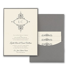 Monogram Flourish - Invitation with Pewter Pocket - Ecru