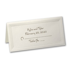 Triple Panel Ecru Place Card