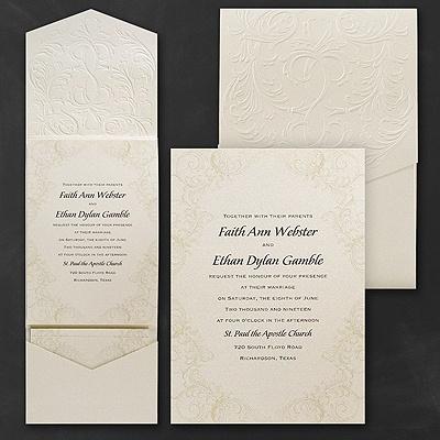 Baroque brilliance invitation pockets carlson craft for Carlson craft invitations discount