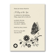 Butterfly Innocence - Birthday Invitation - Ecru