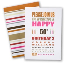 Celebrate with creative 50th birthday invitation wordings typography stripes invitations for 50th birthday party card nk2818950 100 for 15990 filmwisefo Image collections