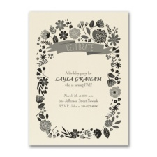 Fun Floral - Birthday Invitation - Ecru