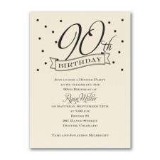 90th Confetti - Birthday Invitation - Ecru