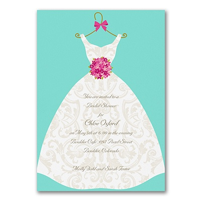 Damask dress bridal shower invitation bridal shower for Carlson craft invitations discount