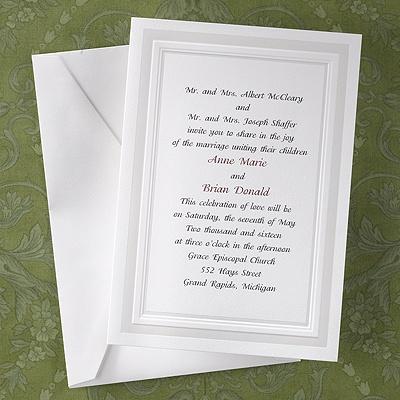White pearl panels invitation carlson craft wedding for Carlson craft invitations discount