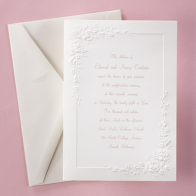 Embossed roses invitation wedding invitations for Carlson craft invitations discount