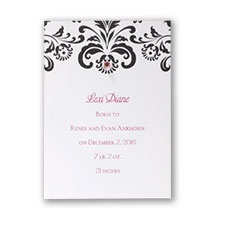 Black and White Damask Announcement Card