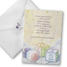ABC Blocks and Rattle Baby Shower Invitation