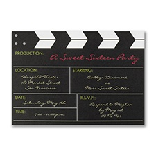 Movie Production - Birthday Invitation - Bright White