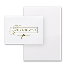 Gold Deluxe Graduation Thank You Card and Envelope