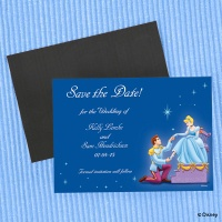 Royal blue card with Cinerella and Prince Charming