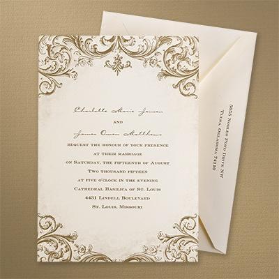 Mocha vintage invitation carlson craft wedding for Carlson craft invitations discount