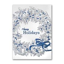 Blue Ribbon Wreath Holiday Card