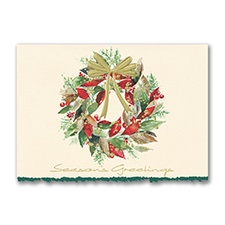 Christmas Leaves Wreath Holiday Card