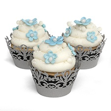 Decorative Cupcake Wraps - Silver