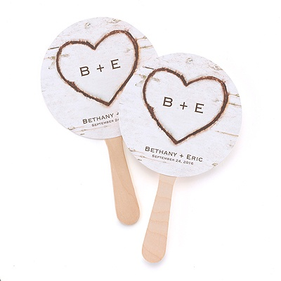 Rustic Heart Favor Fans