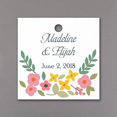 Retro Floral Medium Square Tag