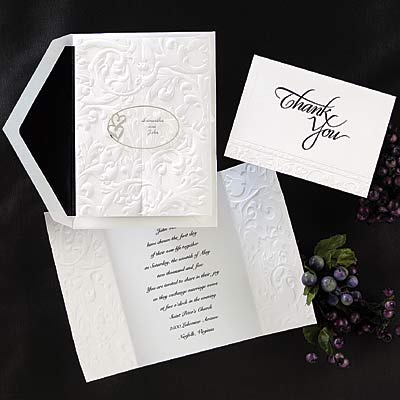 Pearl embossed frames give your wedding invitation reception and respond