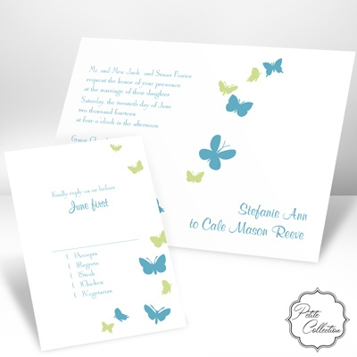 Butterflies in Flight - Palm - Invitation