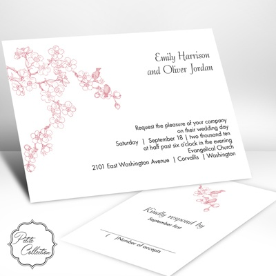 Birds in Cherry Blossoms Petal Invitation pink cherry blossom grey wedding