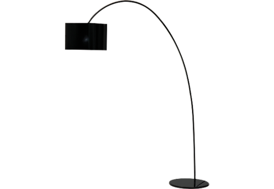 105 h black arc floor lamp w poly propylene sheer shade. Black Bedroom Furniture Sets. Home Design Ideas
