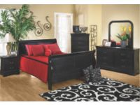 Louis Phillipe Black 6 Piece Queen Bedroom Package
