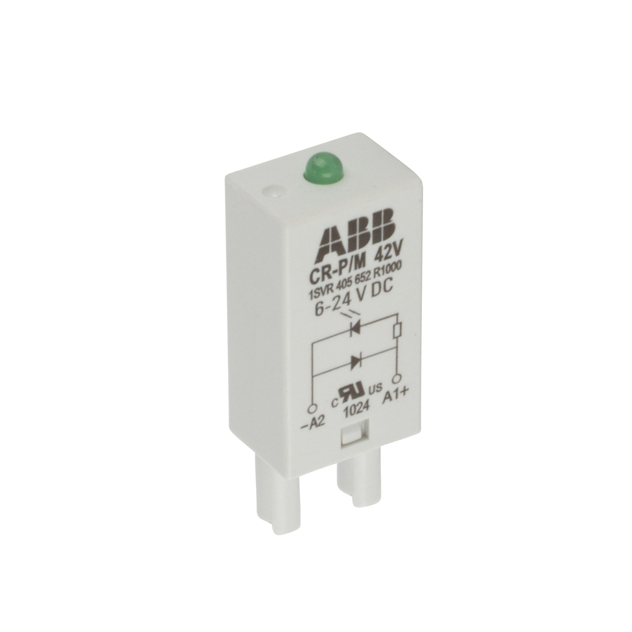Plugin control relay with 6-24 VDC rated control supply voltage with ...