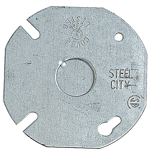 Steel City 24-C-6 3 1/2 in. Steel Box Cover, Flat with 1/2 in. Knockout