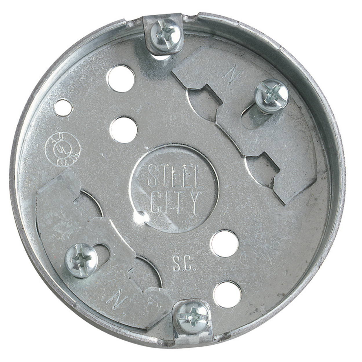 Steel City® Ceiling Box, 1 Outlet, 1/2 in Knockout, Knockout Cable Entry, 3-1/4 in Diameter, Round Shape, Surface Mounting, 4 cu-in Capacity, Steel, Pre-Galvanized, Silver, 1/2 in D Dimensions