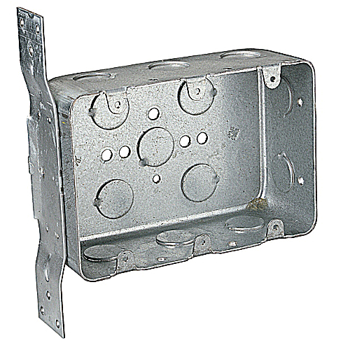 Steel City 3G4D-V-1/2 Three Gang Pre-Galvanized Steel Device Box with Knockouts & CV Bracket