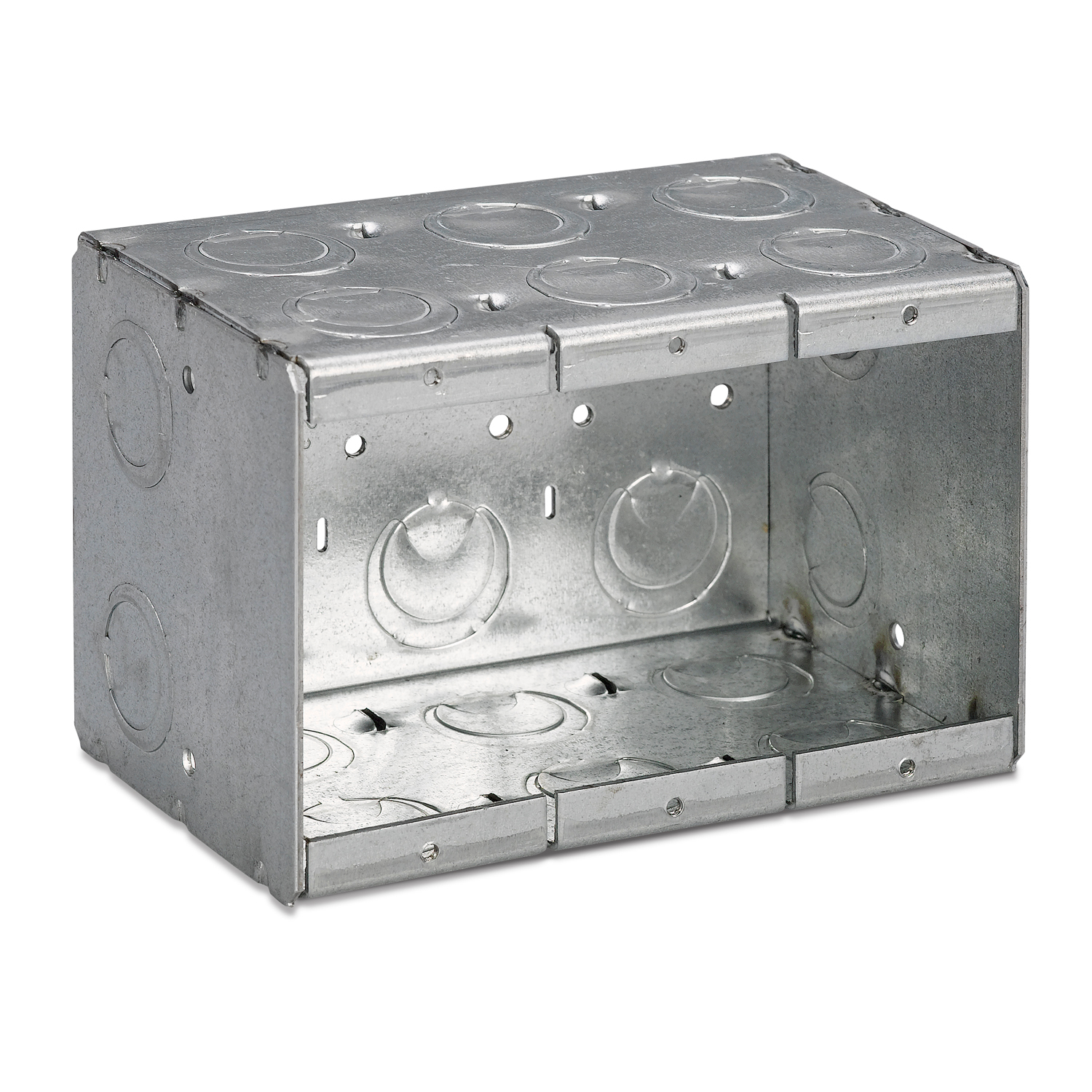 Steel City® Masonry Box, Deep Welded, 3 Outlets, 3 Gangs, 16 Knockouts, 1/2 in, 3/4 in Knockout, Knockout Cable Entry, Threaded Mounting, 71 cu-in Capacity, Steel, Galvanized, Silver, 3-3/4 in L x 5-1/2 in W x 3-1/2 in D Dimensions