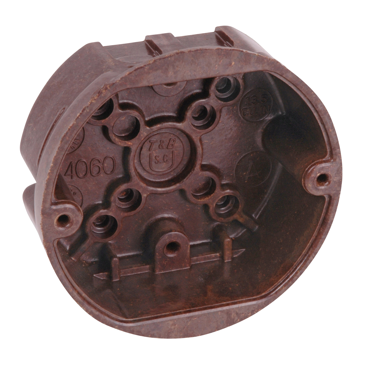 Carlon® Ceiling/Fixture Outlet Box, 4 in Diameter, Round Shape, Nail-On/Threaded Mounting, 13.5 cu-in Capacity, Phenolic, Brown, 1-5/8 in D Dimensions