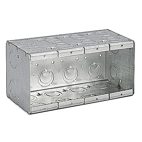 Thomas and Betts / Bowers 4-MB Steel 4 Gang Conduit Masonry Box; 3 3/4 In x 7 3/8 In x 3 1/2 In