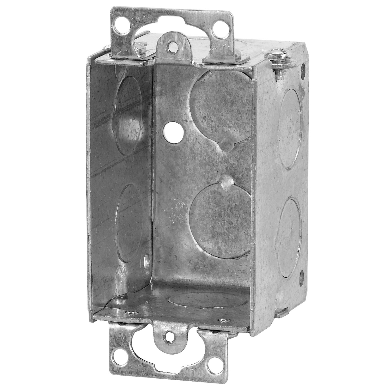 Steel City® Switch Box, Gangable, 1 Outlet, 1 Gang, 8 Knockouts, 1/2 in Knockout, Knockout Cable Entry, 10 cu-in Capacity, Steel, Electro-Galvanized, Silver, 2 in H x 2 in W x 1/2 in D Dimensions
