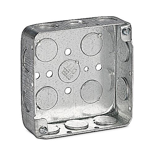 Steel City 52141-1/2 4 In Square Box; 1 1/4 In Depth