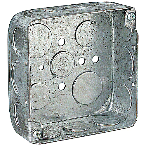 Steel City 52151-1/2-3/4 4 in.x4 in.x1 1/2 in. Steel Square Box, 3/4 in and 1/2 in. Knockouts
