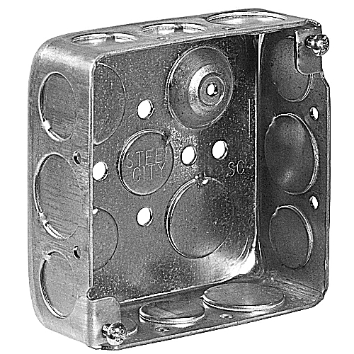 Steel City 521511234 Gang B 4 in. Steel Square Box, Ground Bump