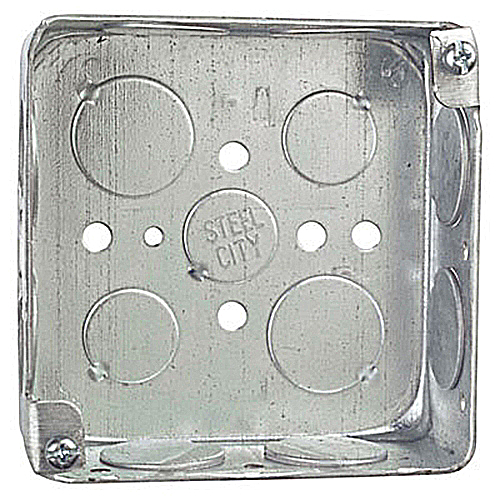 Steel City 52151-3/4 4 in.x4 in.x1 1/2 in. Steel Square Box, 3/4 in. Knockouts
