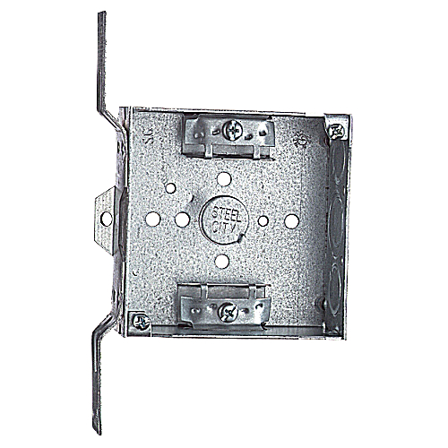 Steel City 52151-CV-3/4 4 in. Pre-Galvanized Steel Square Box with Knockouts & CV Bracket