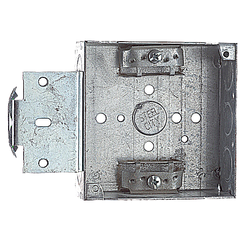 Steel City 52151-MS-X 4 in. Pre-Galvanized Steel Square Box with Knockouts, Clamp & MS Bracket