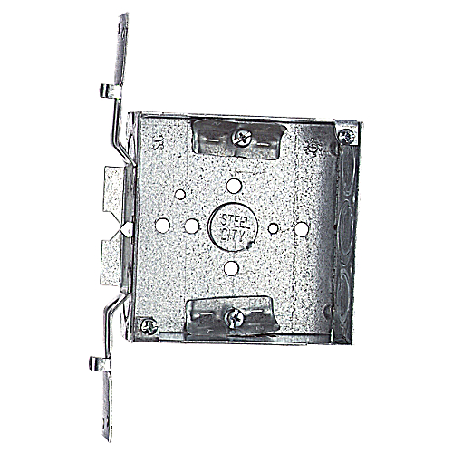 Steel City 52151-VN 4 in. Steel Square Box; 1/2 in. and 3/4 in. Knockouts, SV Bracket, Non-Metallic Cable Clamp