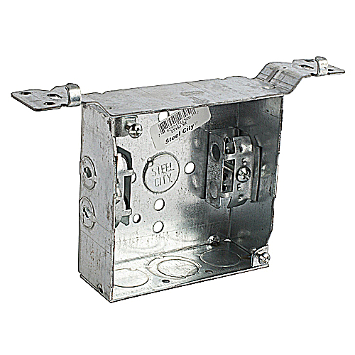 Steel City 52151-VX 4 in. Steel Square Box; 1/2 in. and 3/4 in. Knockouts, SV Bracket, Armored Cable Clamp