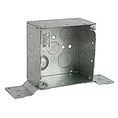 Steel City 52171-CV-3/4 4 in. Pre-Galvanized Steel Square Box with Knockouts & CV Bracket