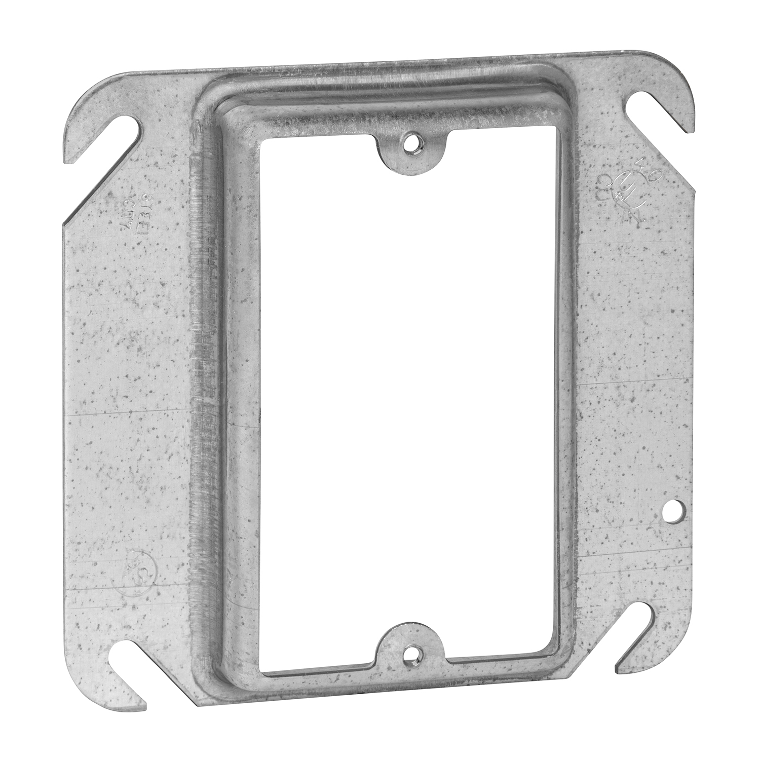 """STEELCTY 52C14 1-GANG SQUARE DEVICE COVER 5CU 4 X 3/4"""" RAISED"""