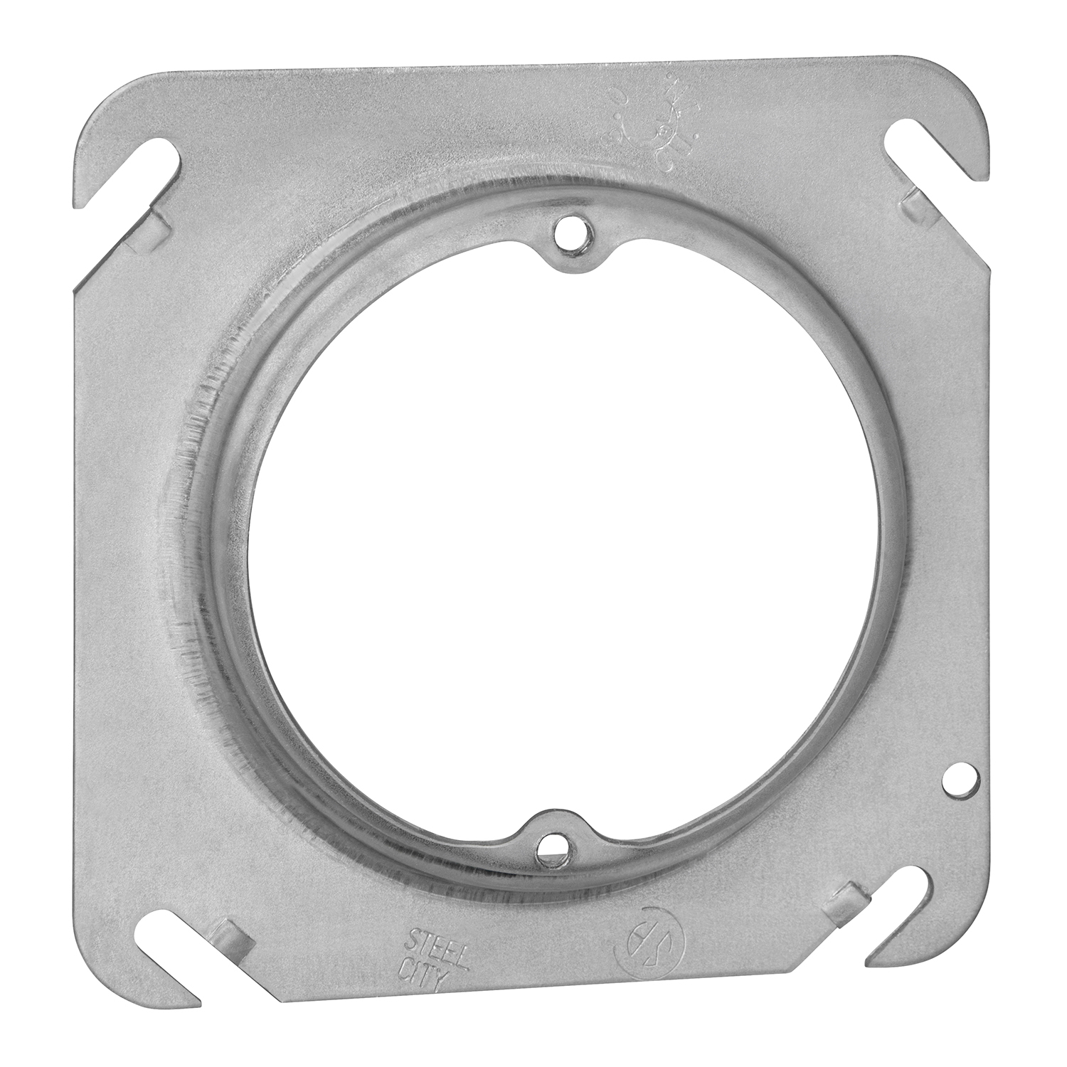 """STEELCTY 52C3-1/2-25 4"""" SQUARE COVER 2-3/4 RND, 3.5CU, 1/2"""" RAISED"""