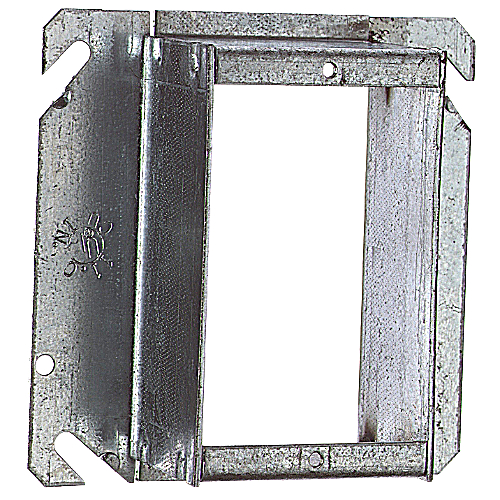 Steel City 52C5011/2-25 4 in. Single Gang Square Cut Tile Wall Cover, 1 1/2 in. Raised, Pre-Galvanized Steel